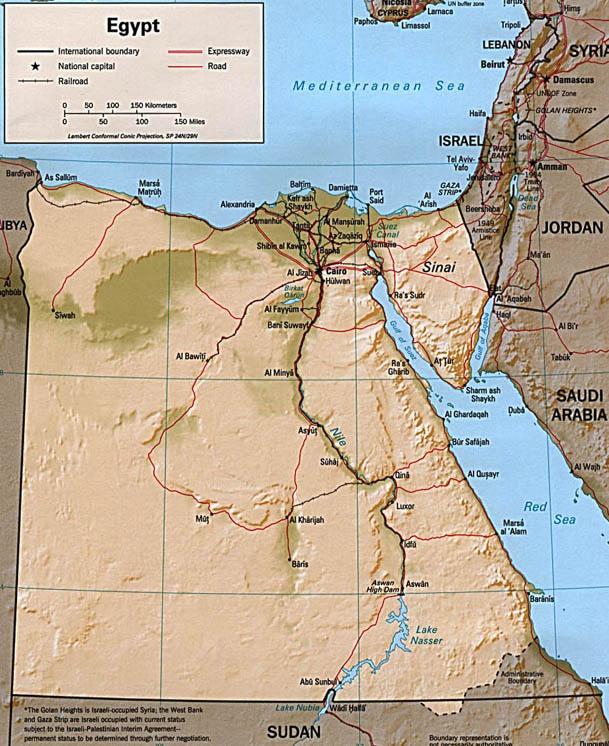 Cartina Geografica Italia Egitto.Egitto Mappa Fisica
